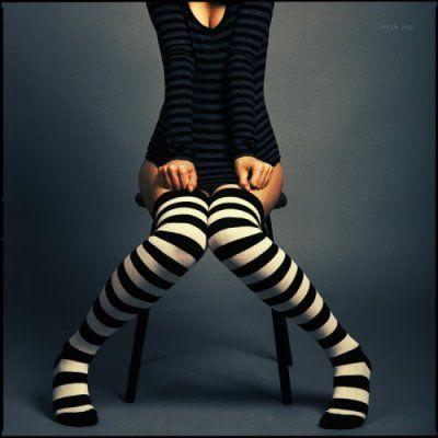 stripes @fffound: Stockings, Fashion, Thigh High, Style, Socks, White, Stripes, Black