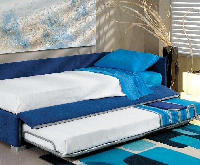 Badroom letto singolo imbottito con due letti camerette per ragazzi pinterest - Camerette con 3 letti ...