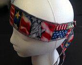 BANDANAS, Built in sweatband, American flag, Motorcycle helmet bandana, sweat head band, Fitness Bandana , Handmade, Gardening headband