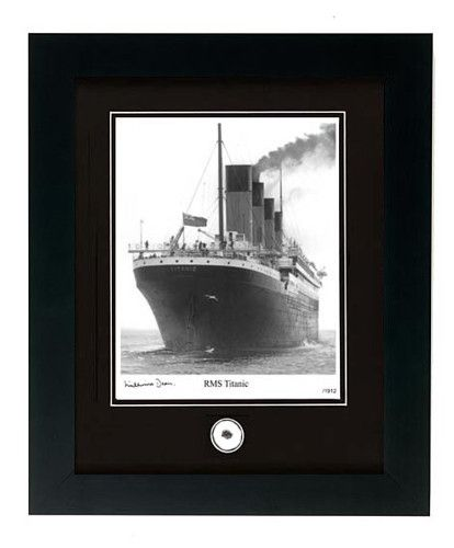 RMS Titanic Photo with Coal Fragment Signed by Survivor Millvina Dean, -Limited