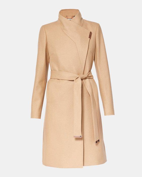 Manteau effet drapé en mélange de cachemire - Camel | blousons et manteaux | Ted Baker FR