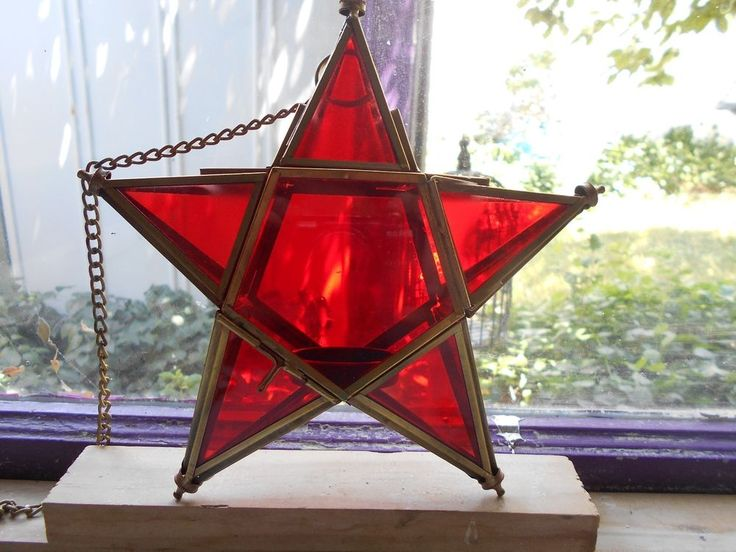 HANGING RED STAINED GLASS  LANTERN CANDLE HOLDER