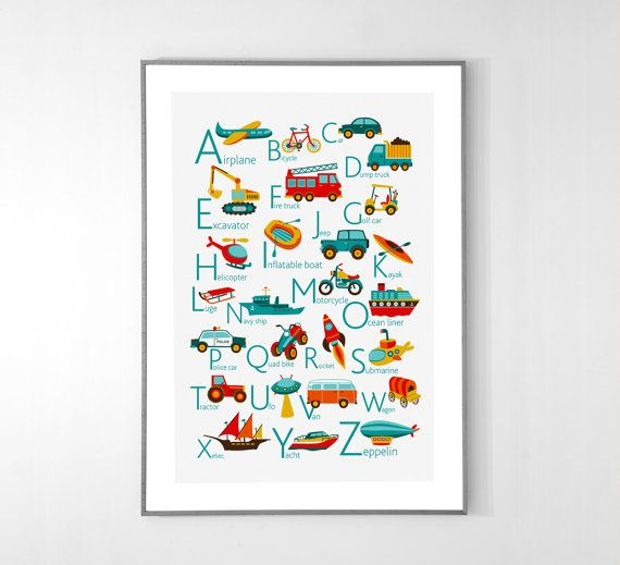 Transports Alphabet Poster from A to Z - ENGLISH - BIG POSTER 13x19 inches