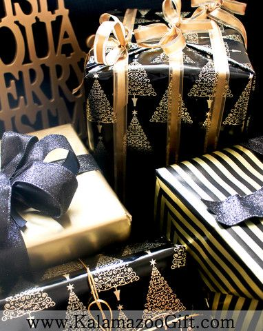 Christmas Holiday Gift Wrapping - Kalamazoo Gift Company 2013 - black and gold #giftwrap - Gift Wrapping Services