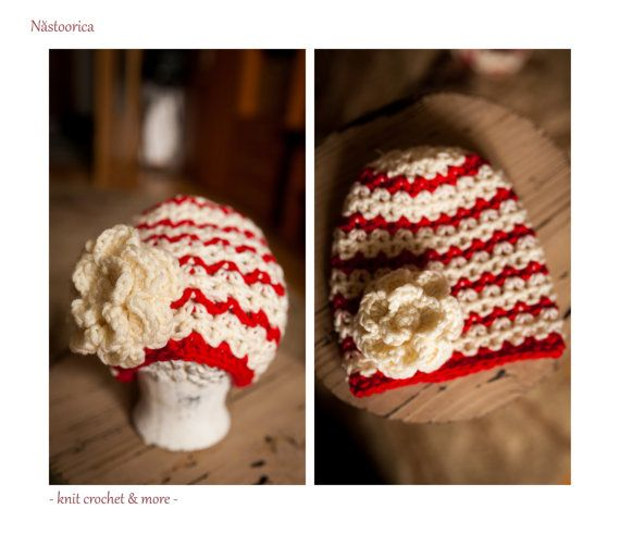 Crochet Hat Flower Beanie Red and White Hat Baby girl hat Crochet Hat