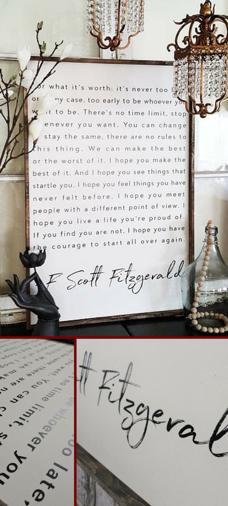 """Breathtaking! """"For what it's worth, it's never too late, or in my case, too early to be whatever you want to be"""" F. Scott Fitzgerald Wood Sign. Inspiring Quotes. Rustic Decor. Fixer Upper. Modern Farmhouse. Farmhouse Decor. Housewarming gift. #ad"""