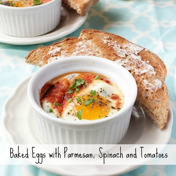 Baked Eggs with Parmesan, Spinach and Tomatoes