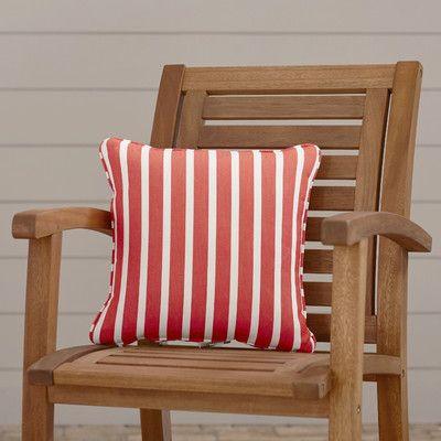 "Wayfair Custom Outdoor Cushions Sunbrella Outdoor Throw Pillow Fabric: Shore Flame, Width: 18"", Depth: 18"""