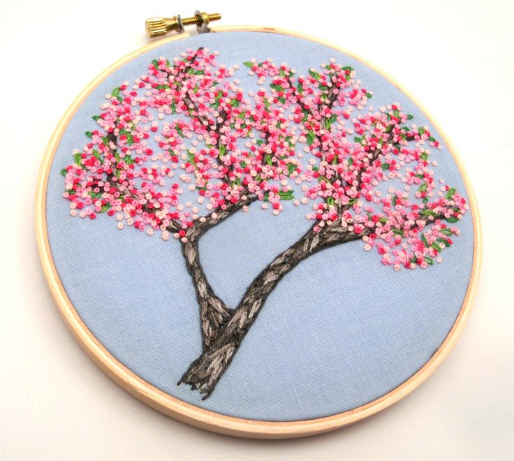 Cherry Blossoms Hand Embroidery Hand Stitched by LaurelSusanStudio
