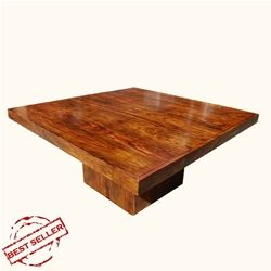 I love the modern super simple and sturdy design of this table! This table seats 8, and comes in a variety of finishes including Espresso and Light Espresso .  Solid Wood Square Pedestal Dining Table For 8 People