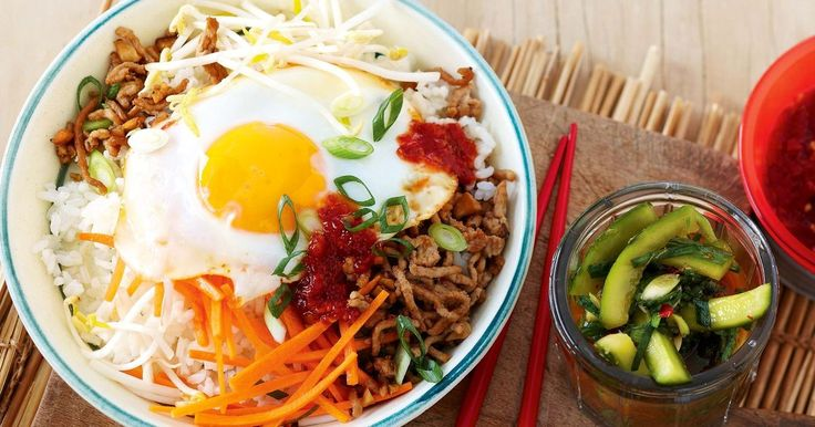 This Korean mince rice bowl is traditionally served with an egg on top.