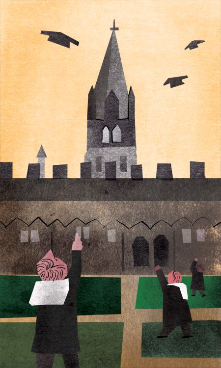 UK / Oxford  graduation, illustration, farewell - yonacity