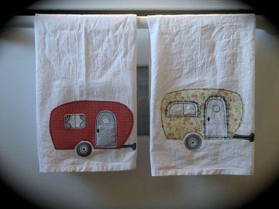 Kitchen Flour Sack Towel / retro appliqued camper