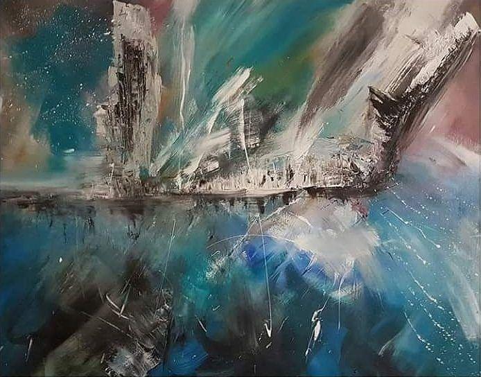 De verlaten stad, schilderij van Pouw art, Franky Pouw | Abstract | Modern | Kunst