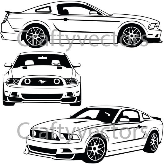 Ford Mustang 2013 Vector File In 2021 Mustang Drawing Ford Mustang Mustang