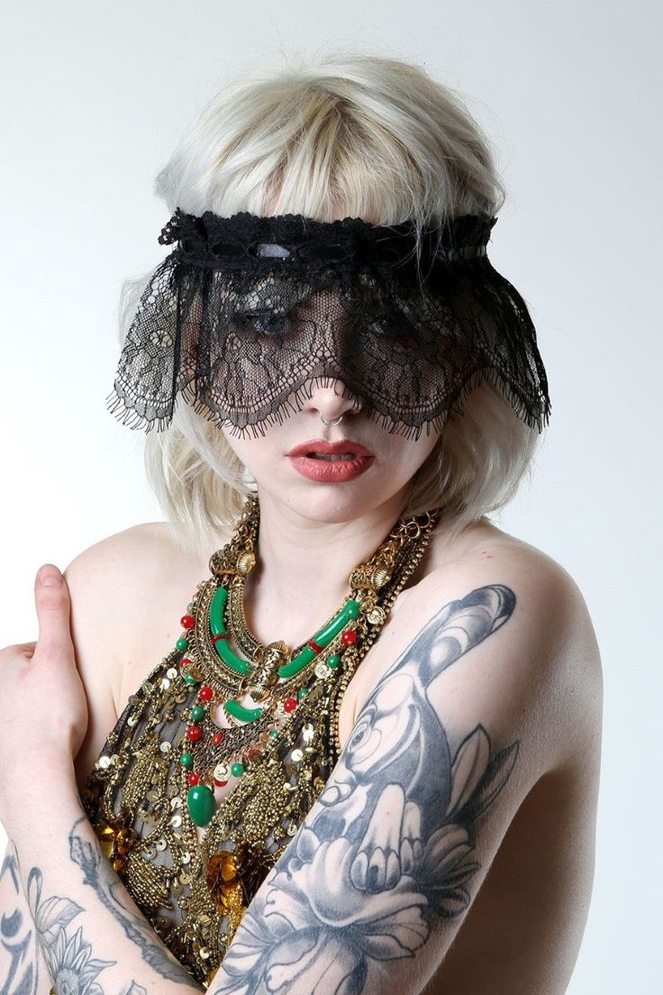 Black lace blindfold veil.