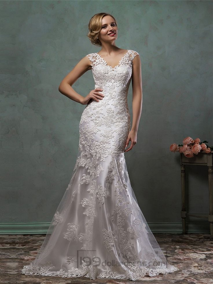 Cap Sleeves V Neck Lace Embroidery Fit Flare Trumpet Mermaid Wedding Dress