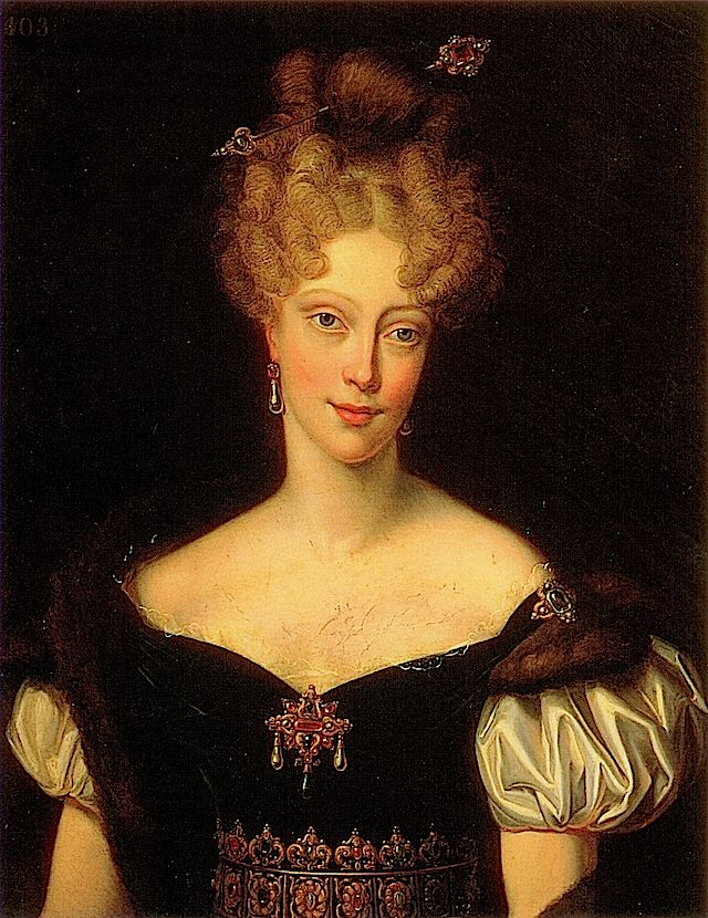 1827 Princess Mary Caroline (nee of Naples and Sicily), Duchesse de Berry by Charles Rauchine.  Politically involved wife and mother of claimants to the French throne--her first husband was assassinated, and the heir born posthumously.  Gt granddaughter of Empress Maria Theresa, and the child of double 1st cousins. Noted collector of art.