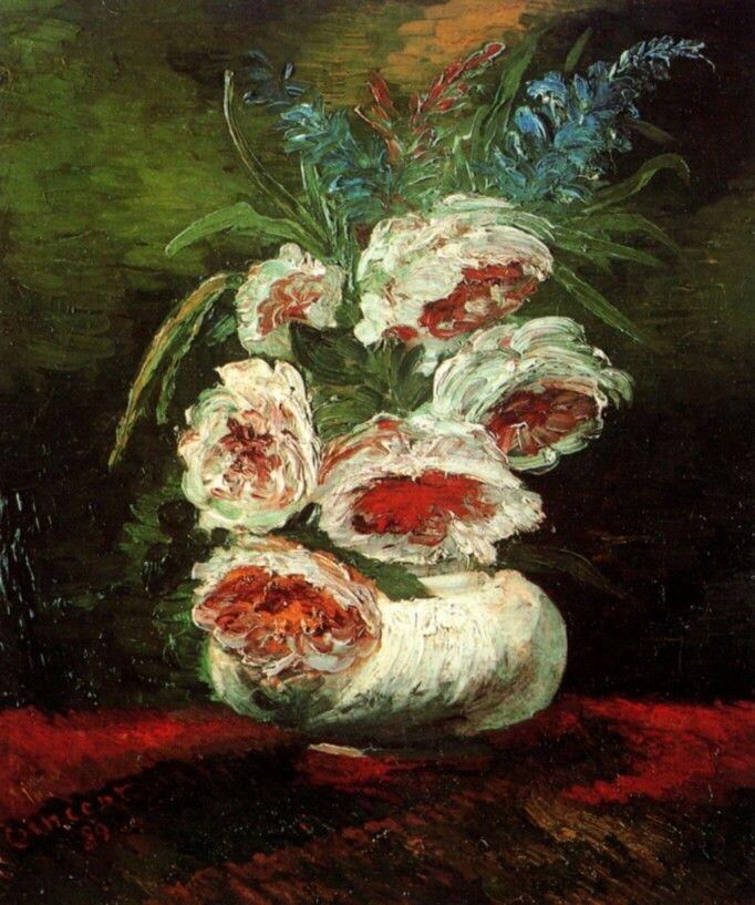 Vase with Peonies. Paris, Summer 1886,  Size 45 x 34cm