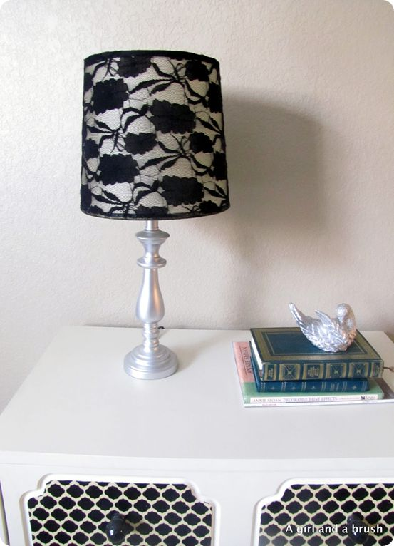 DIY lace lamp shade. This sight has tons of great DIY knock offs!