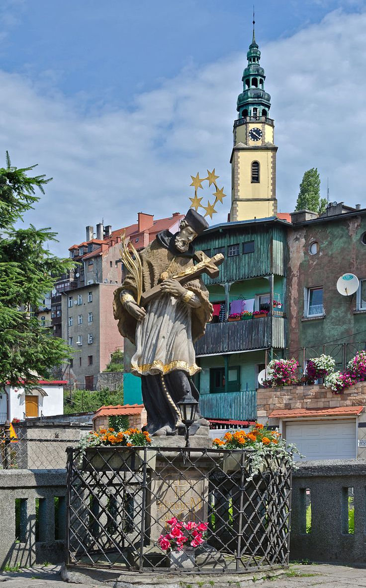2014 Bystrzyca Kłodzka, posąg św. Jana Nepomucena 02.JPG