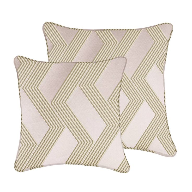 Piped cushion by Seventy74  This bicoloured geometrical pattern stands out in relief on a compact satin  ground with a silky hand, The effect is that of an embroidery: it is  actually an interplay of two bulky yarns emerging from the fabric ground to  create a bright impacting contrast of colour and materials  Custom made in the UK  Size: 50cm x 50cm  Size: 60cm x 60cm  Material: Man made fibres  Fabric House: Dedar Milano  Colours: Lavender  Care: Dry clean only  Inner cushion: Feather …
