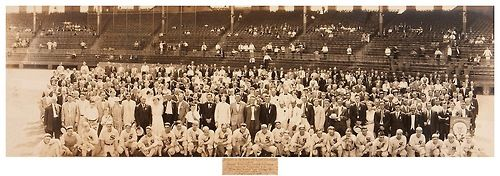 """1916 Chicago White Sox & Friends Panoramic 98 Years Ago Today - Comiskey Park, Chicago - August 9, 1916  ~ """"Delegates to the Fourteenth Annual Convention of the National Rural Letter Carriers Association enjoying the National game at the Comiskey Park, Chicago, Ill., Wednesday, August Ninth, Nineteen Hundred and Sixteen"""""""