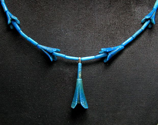 18th Dynasty Egyptian Blue Faience Jasmine Blossom Necklace