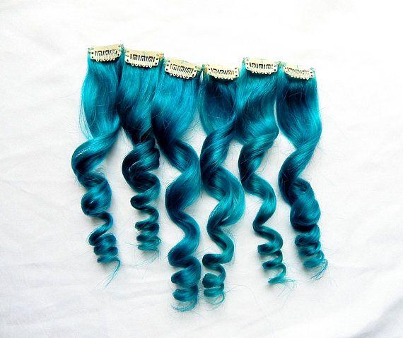 Extensiones de cabello humano azul mar Clip en extensiones
