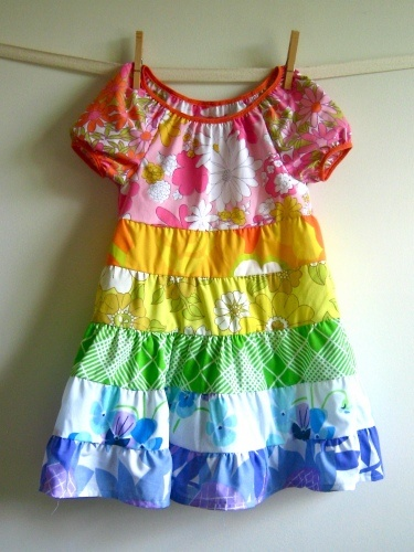 Ohhh a rainbow dress made from vintage fabric - squeel