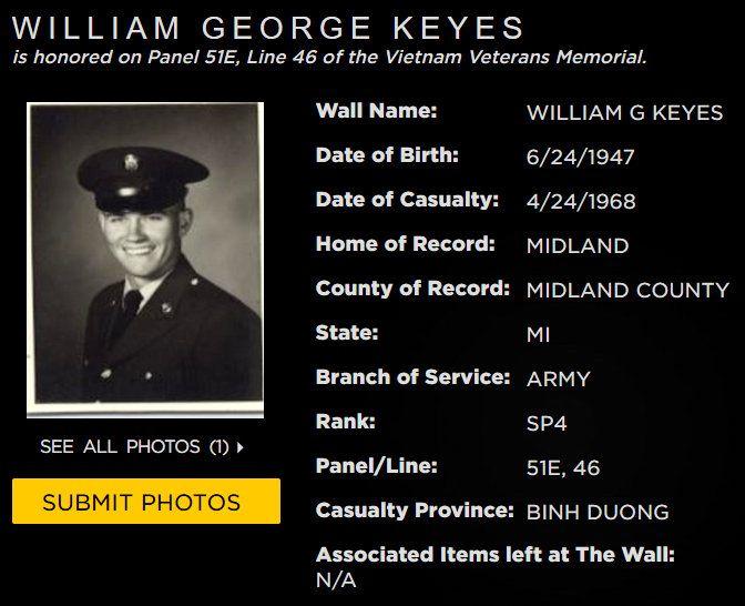 William G Keyes Midland Mich Vietnam Veterans