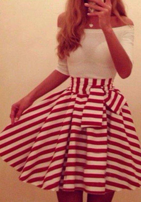 Red-White Striped Patchwork Bow Boat Neck Elbow Sleeve Dress - Mini Dresses - Dresses