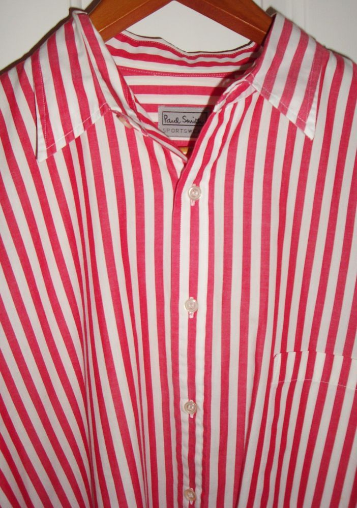 Paul Smith Sportswear UK Red & White Striped Shirt Button Up Long Sleeve Sz. 3  #PaulSmith #ButtonFront