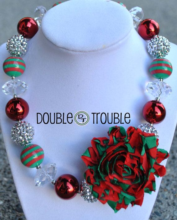 Christmas, Xmas, Holiday, Green, Red, Silver, Shabby, Chunky Necklace, Necklace, Chunky Bead Necklace, Gumball Necklace, Bubblegum Necklace