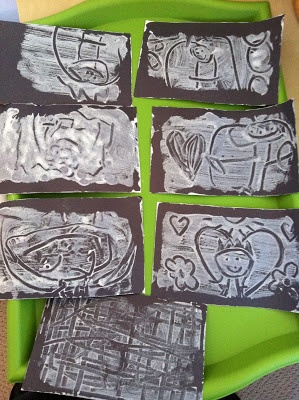 Print-Making with a recycled styrofoam tray