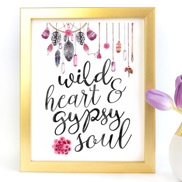 """""""Wild Heart & Gypsy Soul"""" Typography Art Print - Paper Ponies Boutique"""