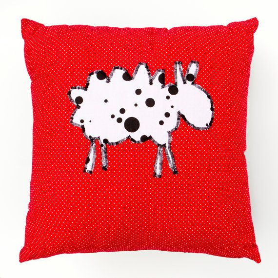 Red Cushion with a Unique Polka Dot Sheep 45cm x 45cm