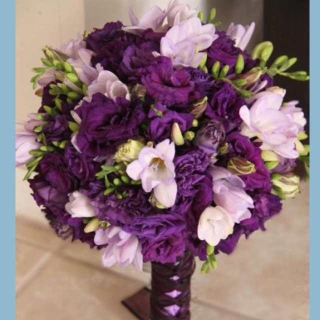 Purple Lisianthus And Lavender Freesia For The Bridal Bouquet With Corset Style Satin Ribbon