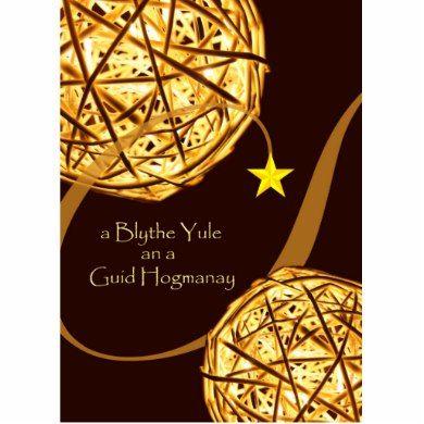 Merry Christmas and Happy New Year (A Blythe Yule and a Guid Hogmanay) greeting card written in Scots language. Theme of light and illumination with glowing balls and star featured on the cover. Illuminated balls element courtesy:Pixabay. Image and verse copyright © Shoaff Ballanger Studios, 2015.