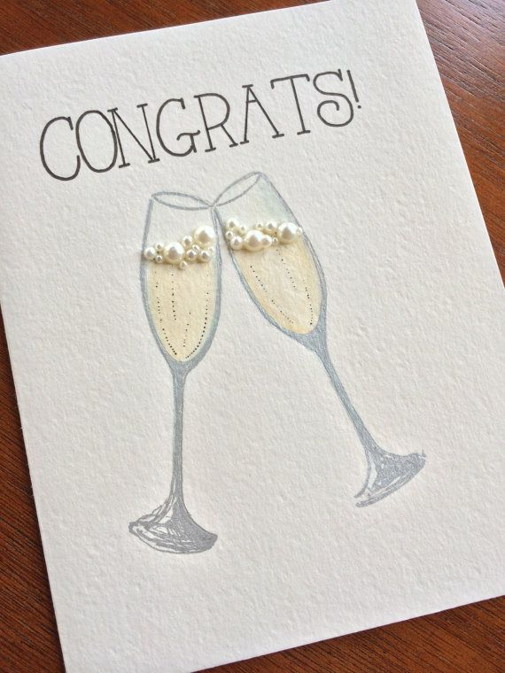 Handmade and One-of-a-kind Congratulations Card for Wedding/Anniversary/Engagement  or any occasion to toast to! Original Fedele Design Two silver