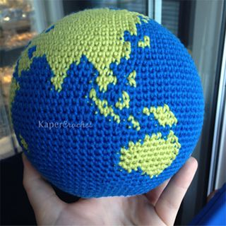 This pattern includes written instructions to create your very own globe. The globe is worked in the round, using only single crochet, increases, and decreases. Color changes are made using the invisible decrease technique.