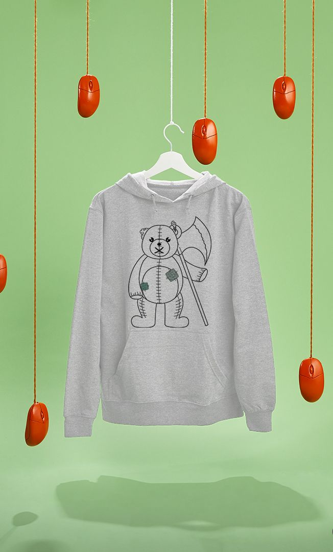 Teddy with Axe by Little Monster on RedBubble. Buy hoodie with my illustration in it.