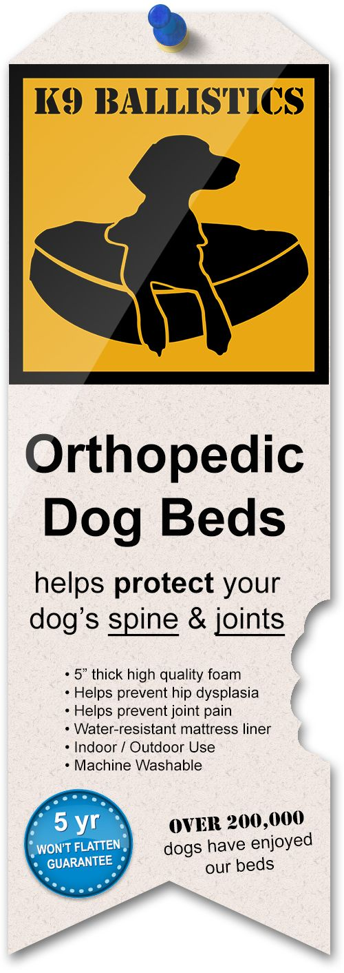 Orthopedic dog beds protect a dog's spine and joints. We offer ours with a water resistant liner and free shipping! Find one for your dog at k9ballistics.com