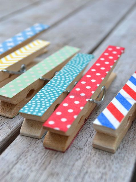 Cover #pegs in colourful paper for a helpful and quirky addition to your pin #board.