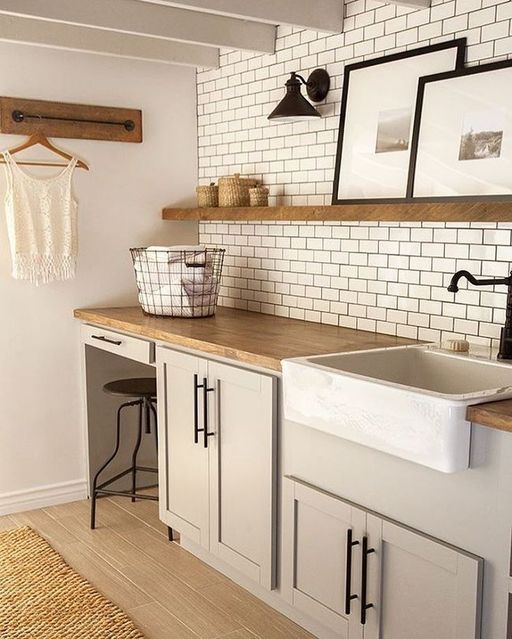 """Just a little """"clean"""" laundry room inspo -- probably should be cleaning mine right now.    @jennasuedesign"""