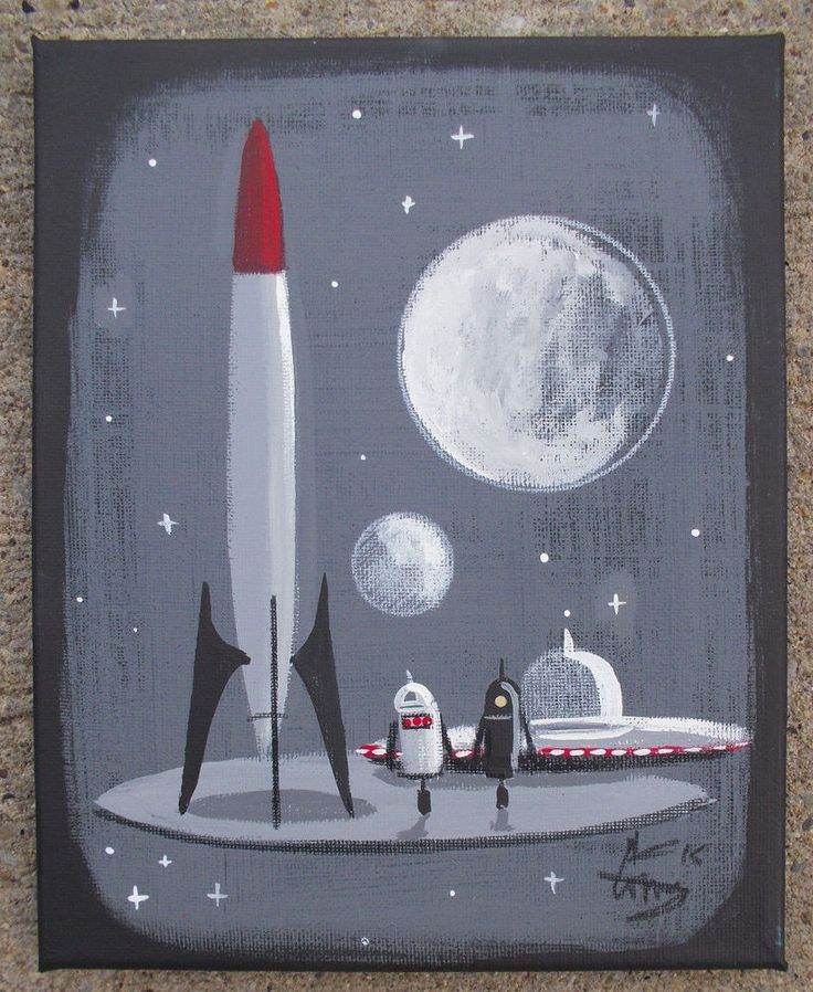 El gato gomez painting retro 1960s outer space ship rocket for Retro outer space