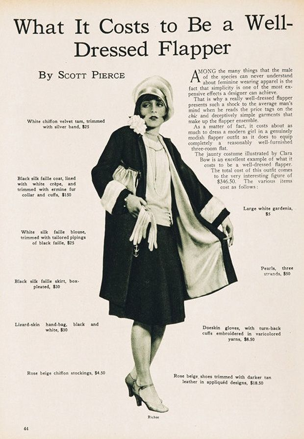 """What It Costs To Be A Well-Dressed Flapper"" (Model, Clara Bow): Calculation for inflation makes the outfit a comparable cost to $4200 in today's dollar."