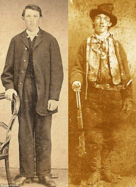 A new photo purporting to show Billy the Kid (left) has emerged.  The only verified picture of the Western outlaw was sold to billionaire William Koch n 2011 for 2.3 million.