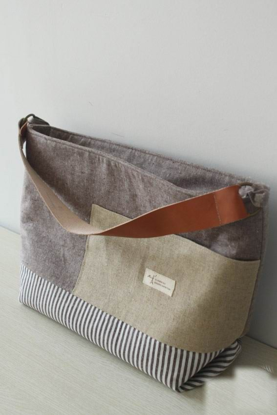 Handcraft Natural cotton Linen fabric handbag sholder bag beach tote Leather Strap -Made to order