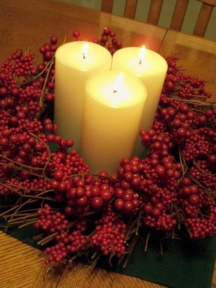 Beautiful Simple Christmas Centerpieces With Easy On The Eye Three Candle Lights Wrapped Around On Red Berries, Beautiful Christmas Centerpiece Decorating Ideas For Holiday Party: Furniture